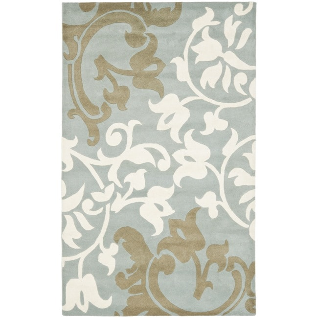 Safavieh Handmade Silhouettes Blue/Grey New Zealand Wool Rug - 8'3 x 11'