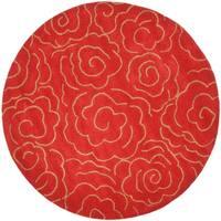 Safavieh Handmade Soho Roses Red New Zealand Wool Rug - 8' x 8' Round