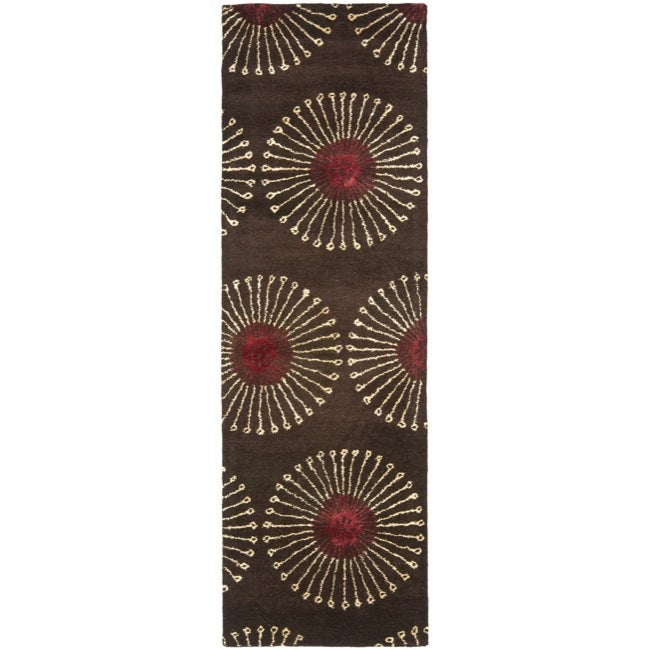 Safavieh Handmade Soho Zen Coffee/ Brown New Zealand Wool Runner - 2'6 x 12'