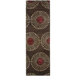 Safavieh Handmade Soho Zen Coffee/ Brown New Zealand Wool Runner (2'6 x 12')