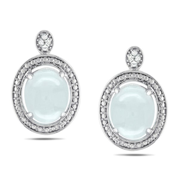 Miadora Sterling Silver 5ct TGW Aquamarine and Diamond Accent Earrings