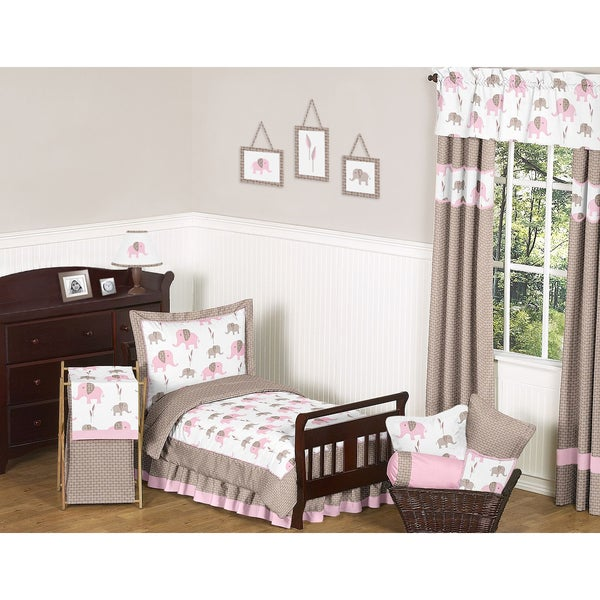 Sweet JoJo Designs Pink Mod Elephant 5-piece Toddler Bedding Set