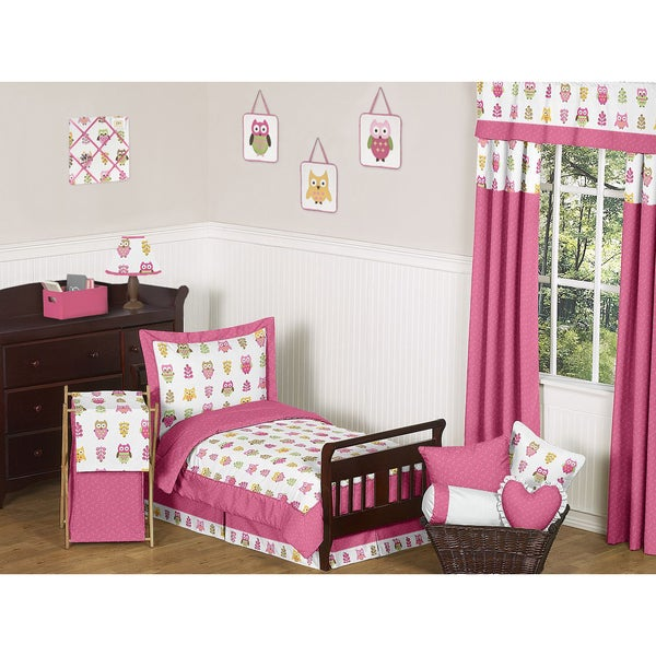 Sweet JoJo Designs Pink Happy Owl 5-piece Toddler Bedding Set