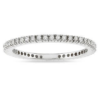 Miadora 10k White Gold 1/3ct TDW Diamond Stackable Eternity Ring (H-I, I2-I3)
