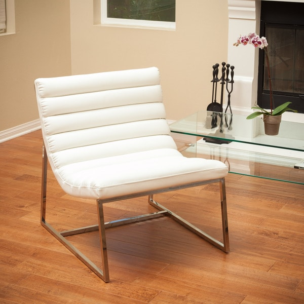 Parisian White Leather Sofa Chair by Christopher Knight Home