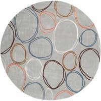 Hand-tufted Contemporary Grey Cosmic Geometric Circles Abstract Area Rug - 8'