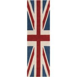 Hand-tufted Contemporary Union Jack Red Cosmic Abstract Rug (2'6 x 8')