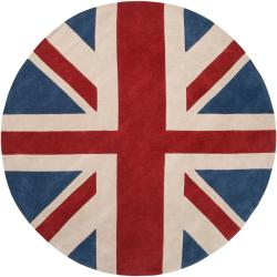 Hand-tufted Contemporary Union Jack Red Cosmic Abstract Rug (8' Round)