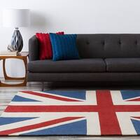 Hand-tufted Contemporary Union Jack Red Cosmic Abstract Area Rug - 8' Round