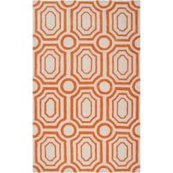 Hand-tufted Orange Hudson Park Polyester Rug (2' x 3')
