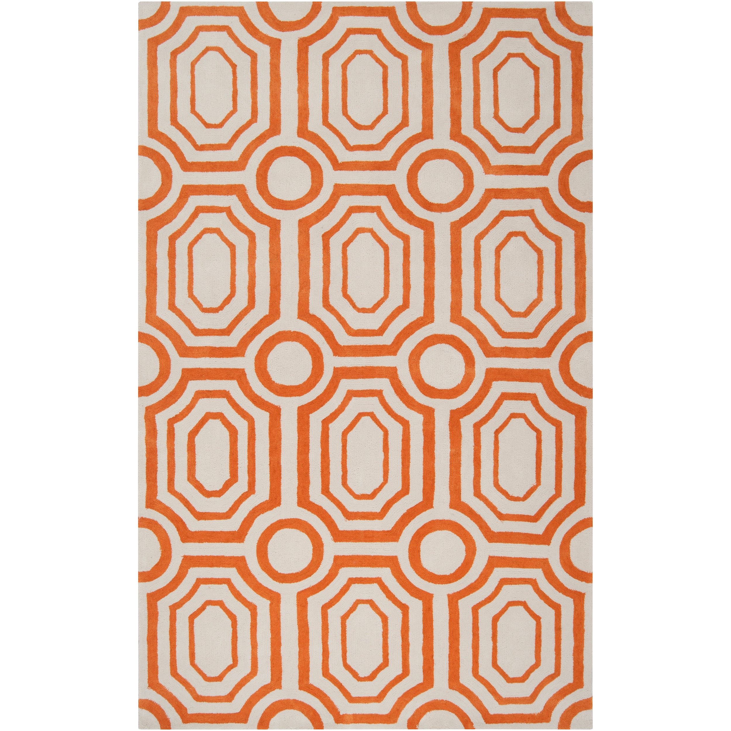 Hand-tufted Orange Hudson Park Polyester Rug (3'3 x 5'3)