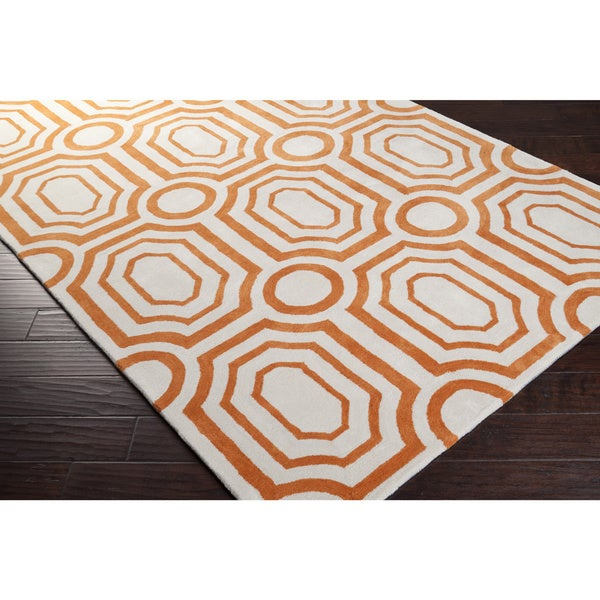 Hand-tufted Orange Hudson Park Polyester Rug (5' x 7'6)