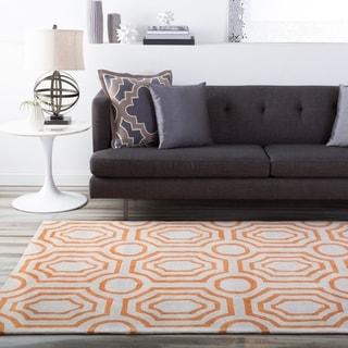 Hand-tufted Orange Hudson Park Polyester Rug (5' x 7'6)