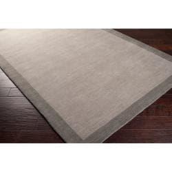 Loomed Gray Madison Square Wool Rug (5' x 7'6) - Thumbnail 1