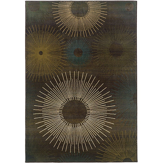Sydney Brown/ Blue Contemporary Area Rug (4' x 5'9) - Thumbnail 0