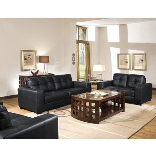 Whitney Modern Black Leather Sofa and Loveseat Set Free Shipping