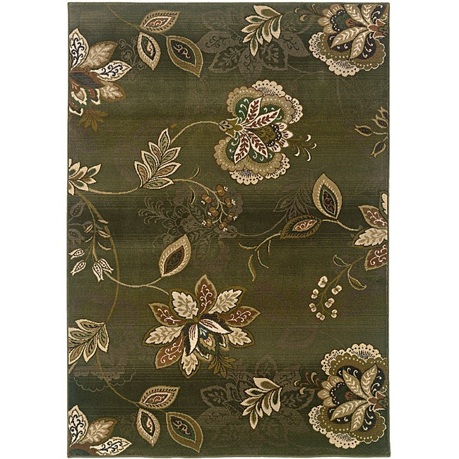 Sydney Green/ Brown Transitional Area Rug (5' x 7'6)
