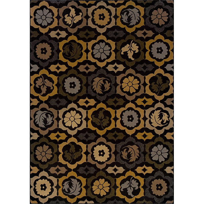 Black/ Gold Transitional Area Rug (1'10 x 3'3)