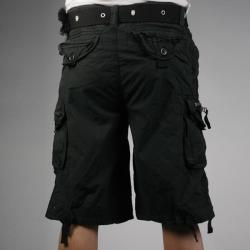 Laguna Beach Jean Company Men's Hermosa Beach Black Belted Cargo Shorts - Thumbnail 1