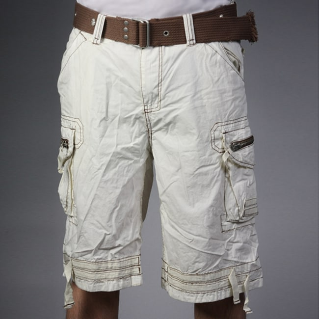 Laguna Beach Jean Company Men's Hermosa Beach Beige Belted Cargo Shorts - Thumbnail 0