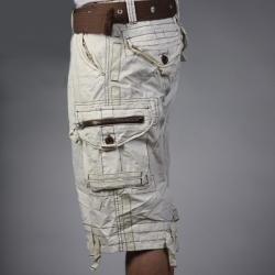 Laguna Beach Jean Company Men's Hermosa Beach Beige Belted Cargo Shorts - Thumbnail 2