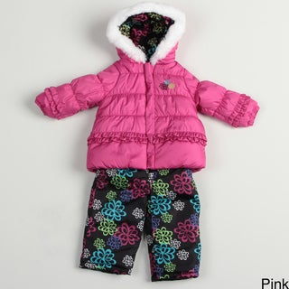 London Fog Infant Girls' Floral Polyester Snowsuit Outerwear Set FINAL SALE