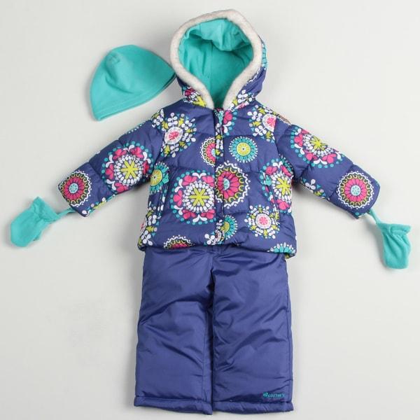 Carters Toddler Girl's Floral Print Snowsuit Set