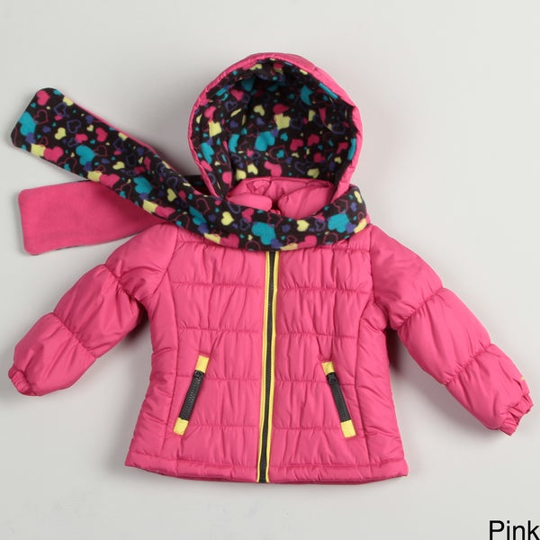 London Fog Toddler Girl's Bubble Jacket with Scarf