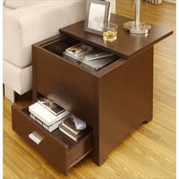 Furniture of America Kai Dark Espresso Double Storage End Table