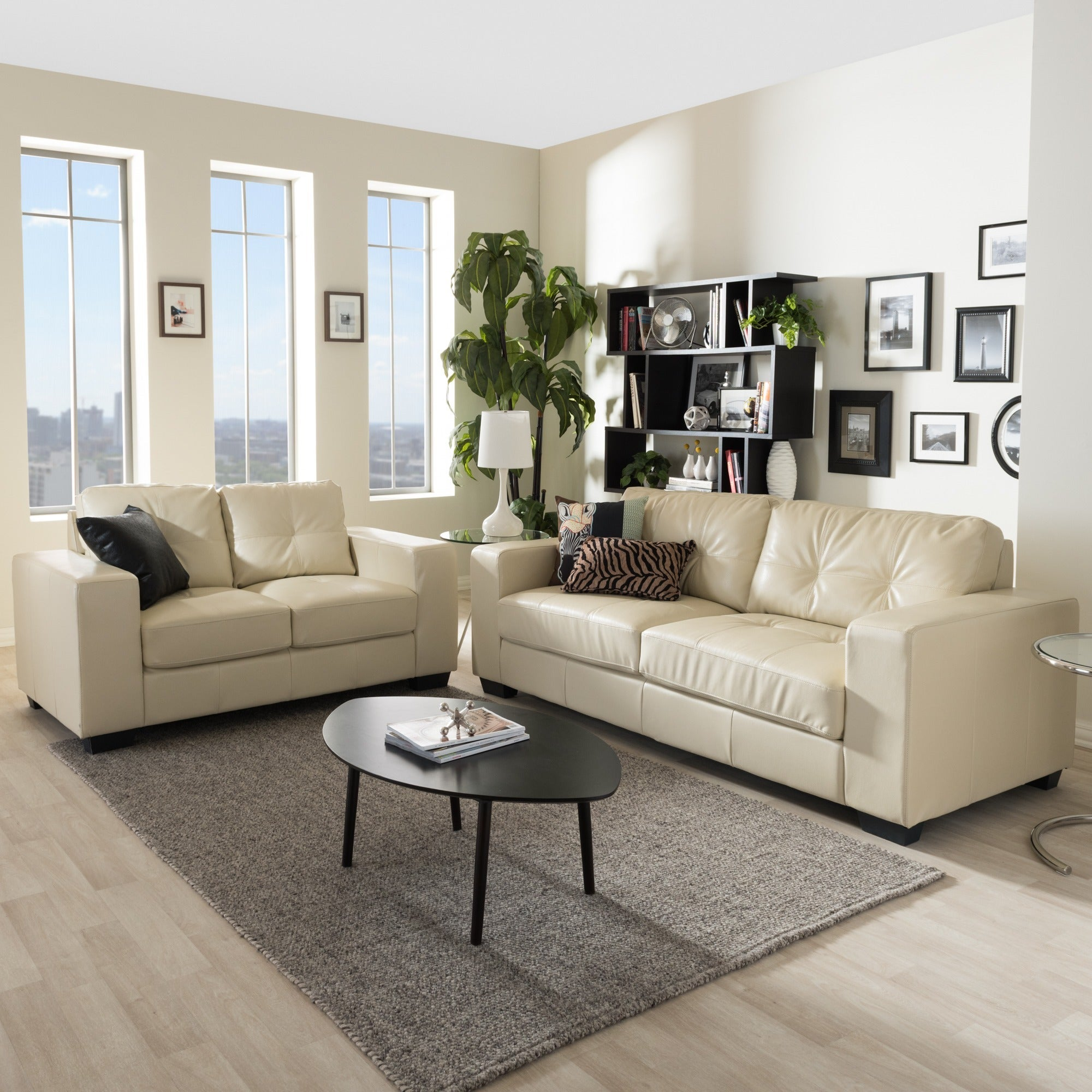 Whitney Modern Ivory Faux Leather Sofa