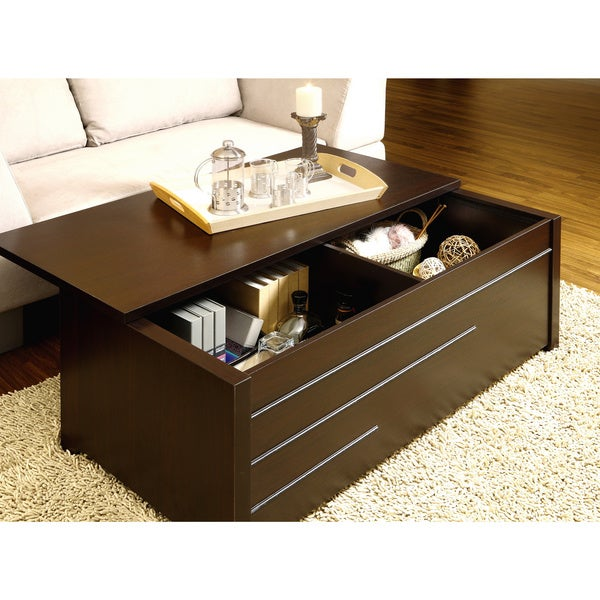 furniture of america max modern dark espresso hidden storage