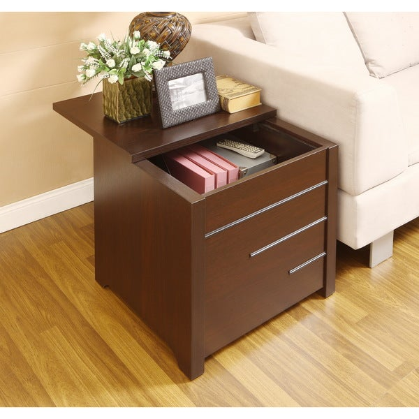 Furniture of America Max Modern Dark Espresso Hidden Storage End Table