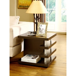 Furniture of America Architectural Inspired Dark Espresso End Table