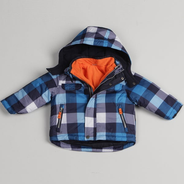 Carters Toddler Boys' Blue Plaid Systems Jacket