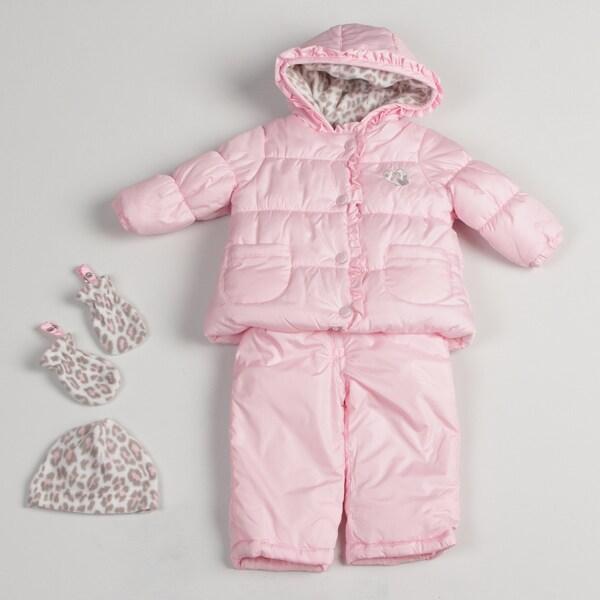 Carters Infant Girl's Pink Ruffle Trim Snowsuit