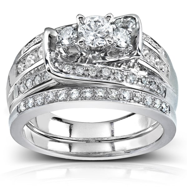 Annello by Kobelli 14k White Gold 1 1/10ct TDW Diamond Bridal Rings Set (G-H I1-I2)