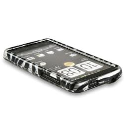 BasAcc Silver/ Black Zebra Snap-on Rubber Coated Case for HTC EVO 4G - Thumbnail 2