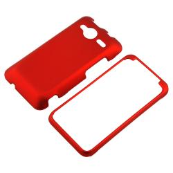 INSTEN Red Snap-on Rubber Coated Phone Case Cover for HTC EVO Shift 4G