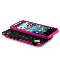 INSTEN Hot Pink Snap-on Rubber Coated Phone Case Cover for HTC EVO Shift 4G