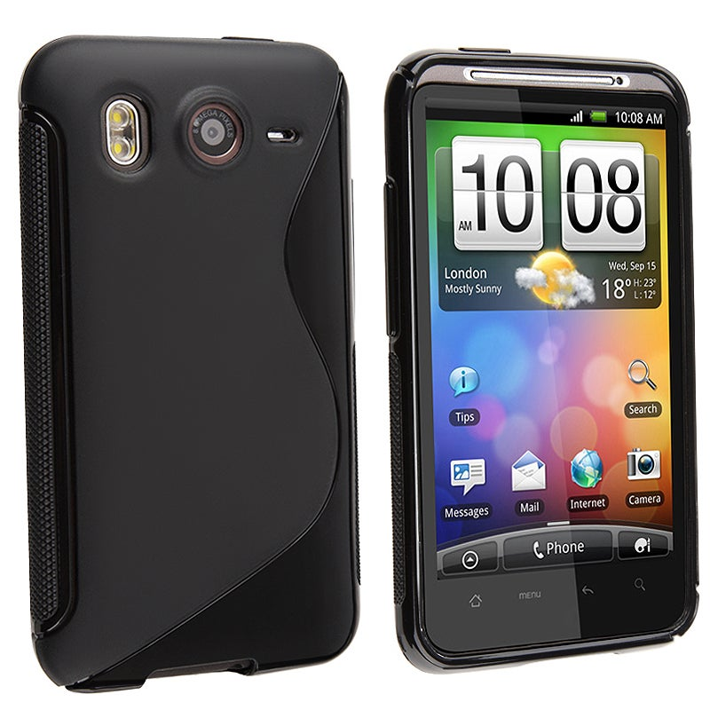 INSTEN Frost Black S Shape TPU Rubber Phone Case Cover for HTC Desire HD