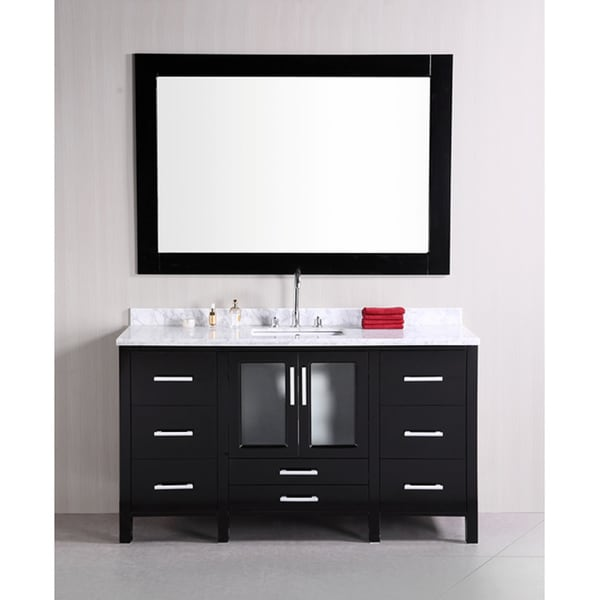 Design Element Stanton Single Sink Carrara White Marble Top ...