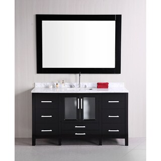 Design Element Stanton Single Sink Carrara White Marble Top Bathroom Vanity Set