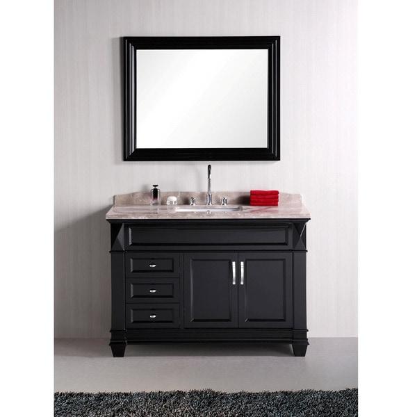 Shop design element hudson 48 inch single sink marble top - 48 in single sink bathroom vanity ...