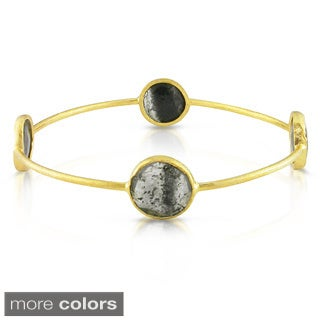 Miadora Yellow-Plated Silver 16Ct TGW Gemstone Bracelet (7-Inch)