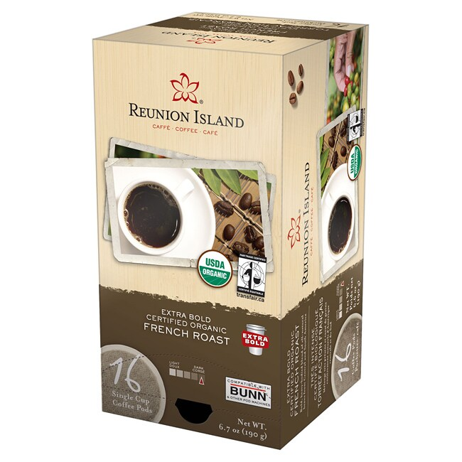 Reunion Island Extra Bold Fair Trade and Organic French Roast Single Cup Coffee Pods (96-Count)