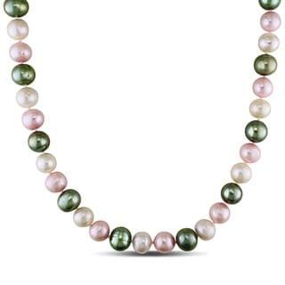 Miadora Multi-colored Cultured Freshwater Pearl 18-inch Necklace (9-10 mm)