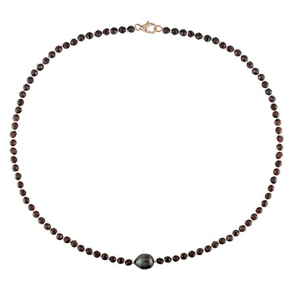 Miadora Black Tahitian Pearl and Garnet Bead 18-inch Necklace (9-10 mm)