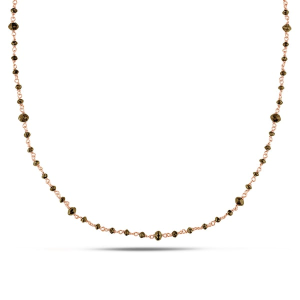 Shira Design 14k Rose Gold 8ct TDW Brown Diamond Bead 18-inch Necklace