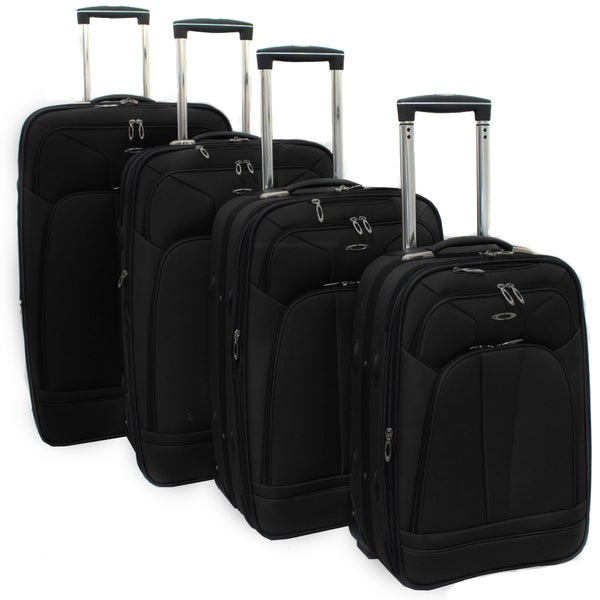 Kemyer Jet Black 4-piece Expandable Upright Luggage Set