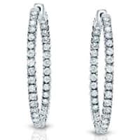 14k Gold 1ct TDW Inside-out Diamond Hoop Earrings